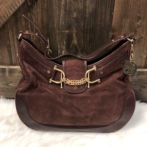 TORY BURCH Rare Vintage Suede & Leather Hobo Bag